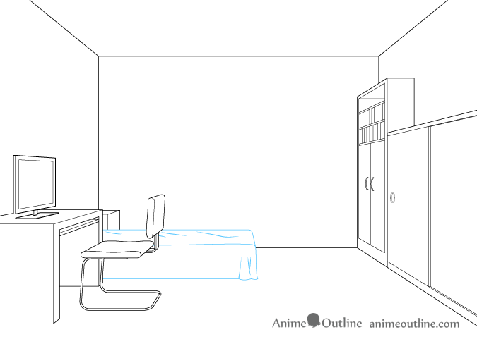 One point perspective drawing bed