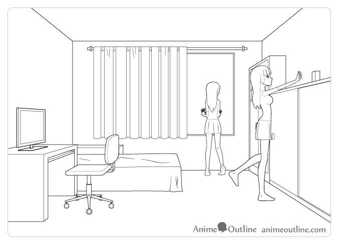 Anime room and character in perspective