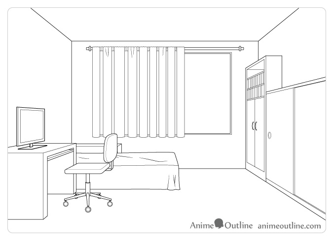 Room drawing in perspective
