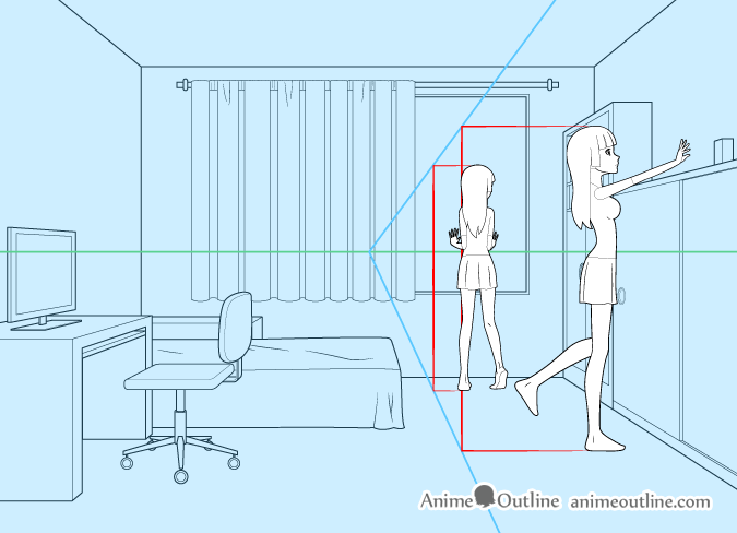 Perspective drawing anime girl in room