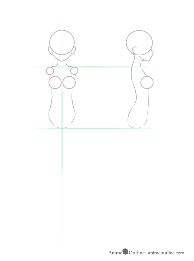 Anime girl body structure front and side view